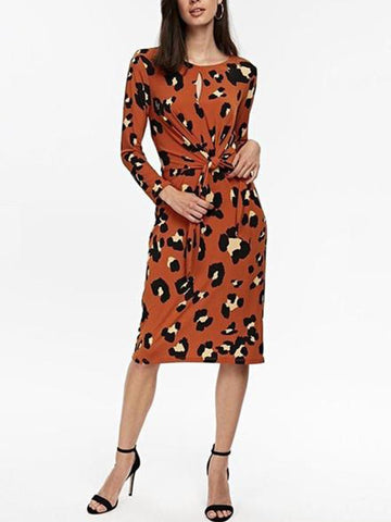 PMS Casual Dresses Orange / xs Round Neck Long Sleeve Knot Leopard Printed Casual Dress