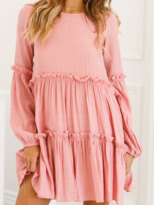 PMS Casual Dresses pink / m Crew Neck  Plain  Long Sleeve Casual Dresses