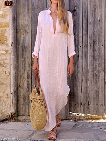 PMS Casual Dresses Pink / s A Loose V-Collar Long-Sleeved Dress