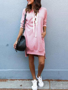 PMS Casual Dresses pink / s Deep V Neck  Asymmetric Hem Lace Up  Plain  Long Sleeve Casual Dresses