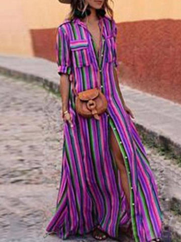 PMS Casual Dresses Purple / s Fashion Stripes Half Sleeve Vacation Maxi Dresses
