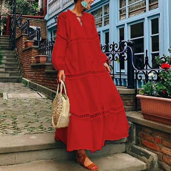 PMS Casual Dresses Red / s V Neck Lantern Sleeve Hollow Out Maxi Dress