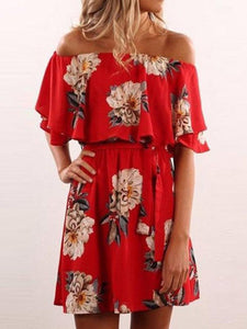 PMS Casual Dresses red / xl Off Shoulder  Belt  Floral Printed  Short Sleeve Casual Dresses