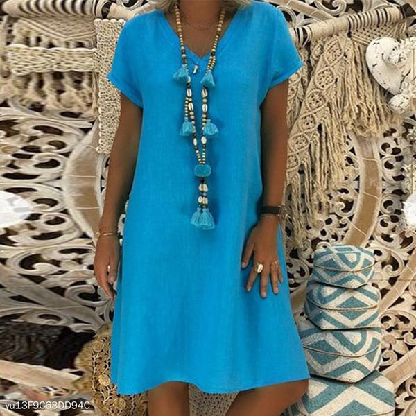 PMS Casual Dresses Sky Blue / s Elegant V Neck Short Sleeve Plain Casual Dress