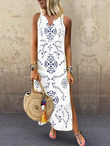 PMS Casual Dresses White / s Casual V Collar Floral Printed Loose Maxi Dress