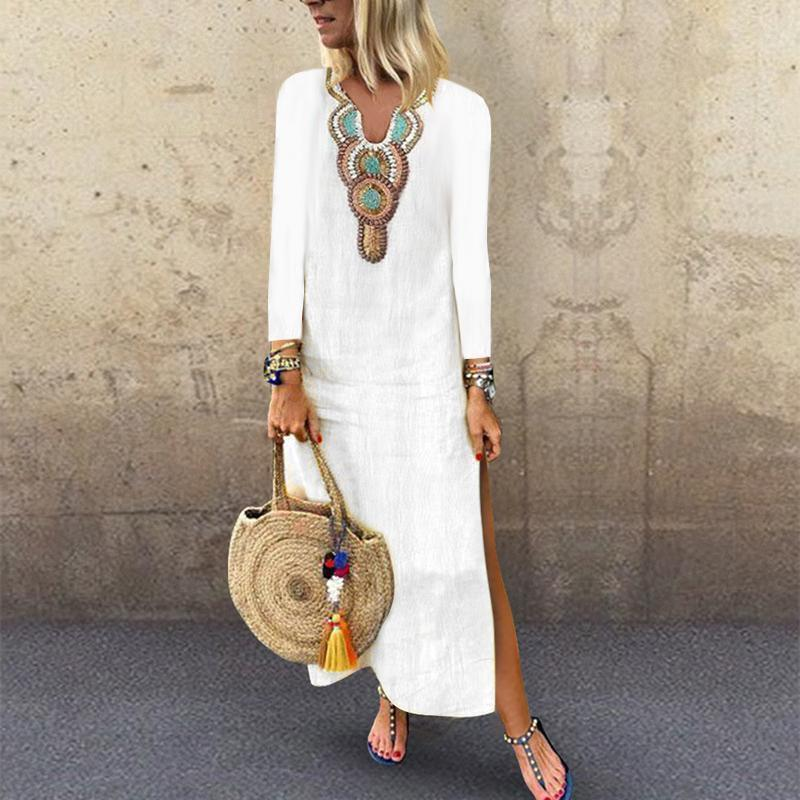 PMS Casual Dresses White / s V Neck Long Sleeve Printed Split Casual Dress