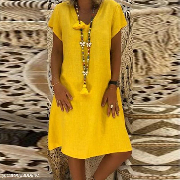 PMS Casual Dresses Yellow / s Elegant V Neck Short Sleeve Plain Casual Dress