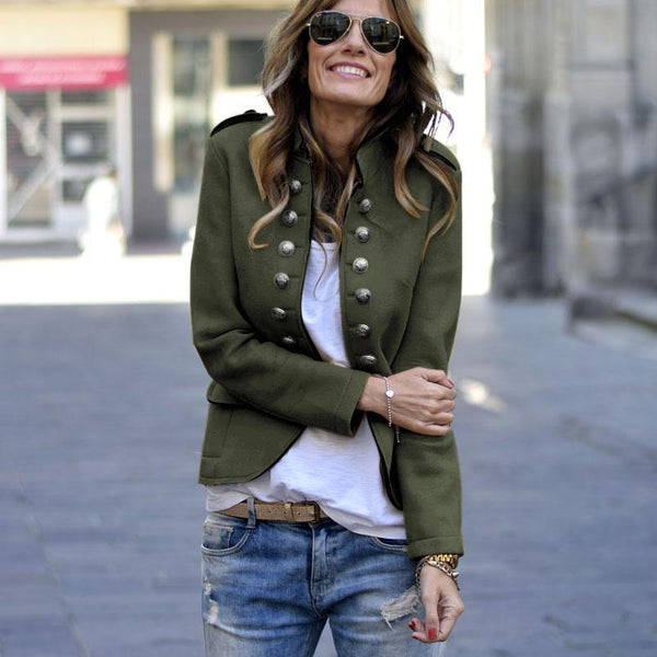 PMS Coats Army Green / s Fashion Pure Colour   Long Sleeve Coat