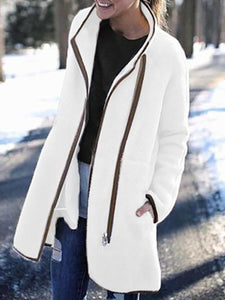 PMS Coats Beige / s Fashion High Neck Zip Button Coat