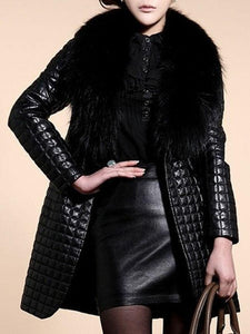PMS Coats Black / m Comfortable Faux Fur Collar Patchwork Blend Overcoats