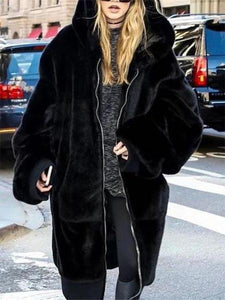 PMS Coats Black / one size Fashion Plain Faux Fur Thicken Keep Warm Long Coat