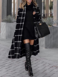 PMS Coats Black / s Flash Sale Fashion Grid Long Sleeve Overcoat