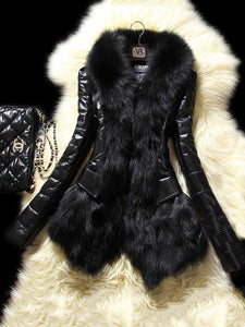 PMS Coats Black / s Stylish Winter Warm Faux Fox Fur Coat