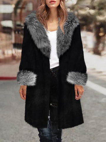 PMS Coats Black / s Winter Warm Fox Fur Overcoat Fashion Outwear