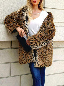 PMS Coats brown_leopard_print / s Hooded Leopard Printed Long Sleeve Fur Coats