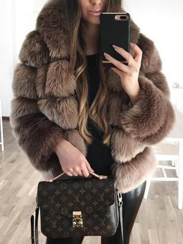 PMS Coats Brown / s Turtle Neck Long Sleeve Elegant Fur Coats