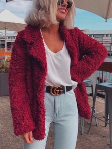 PMS Coats Claret / s Fashion Pure Color Casual Thickened Long Sleeve Plush Lapel Jacket Coat