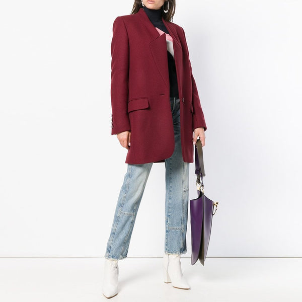 PMS Coats Claret / s Solid Color Stand-Up Collar Pocket Coat