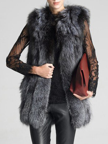 PMS Coats dark_grey / s Fluffy Faux Fur Collarless Plain Waistcoat