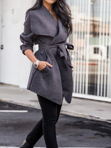 PMS Coats Dark Grey / s Lapel  Belt  Plain Trench Coats