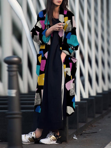 PMS Coats Detail / s Fashion Turndown   Collar Printed Long Sleeve Coat