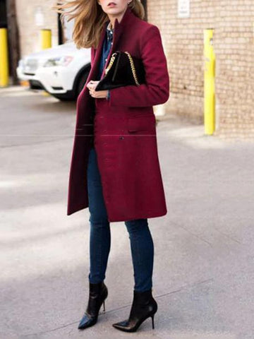 PMS Coats Fashion Lapel Solid Color Double Breasted Overcoat