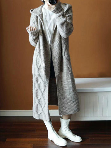 PMS Coats Gray / one size Autumn Winter Hat   Thick Knitted Long Coat