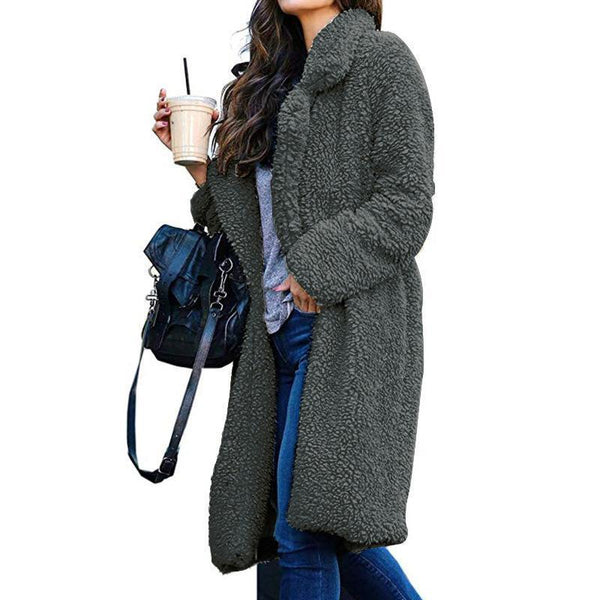 PMS Coats gray / s Autumn And Winter Collared Lamb Velvet Pure Color Coat