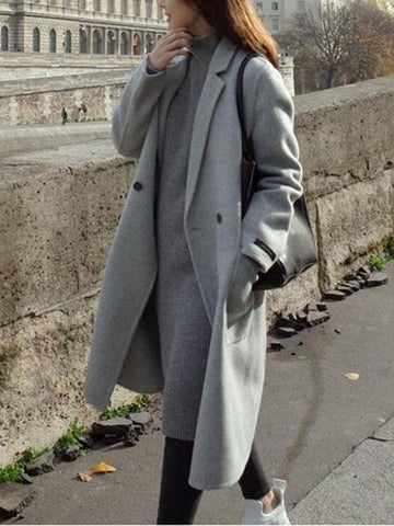 PMS Coats Gray / s Fashion Plain Straight Cashmere Coat Outerwear