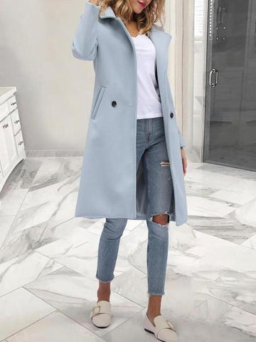 PMS Coats Gray / s Fashion Solid Color Lapel Outerwear