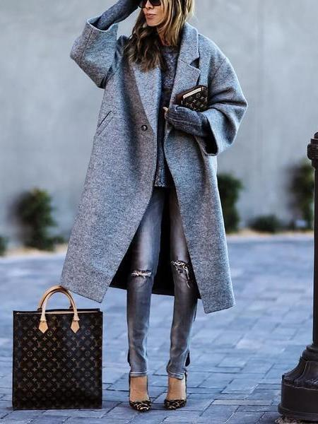 PMS Coats Gray / s Fashion Solid Color Lapel Woolen Coat