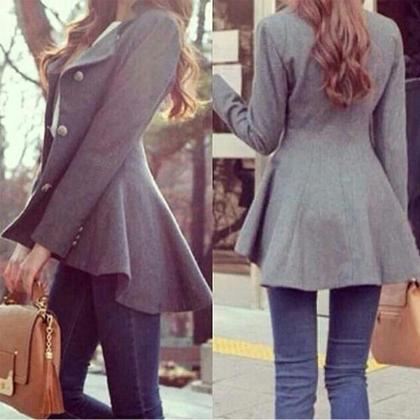 PMS Coats Gray / s Long-Sleeved Tuxedo Woolen Coat