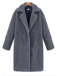 PMS Coats Gray / s Winter Warm Solid Long Cardigan Woolen Coat