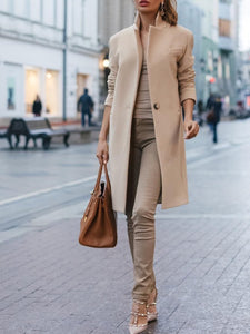 PMS Coats Khaki / s Autumn And Winter   Fashion Pure Color Coat