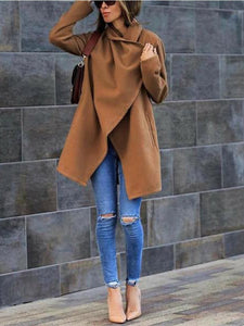 PMS Coats Khaki / s Fashion Temperament Pure Color Long-Sleeved Warm Coat