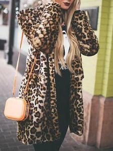 PMS Coats Leopard Print / s Casual Fashion Stand Collar Shoulder Padded Leopard Printed Long Coat