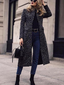 PMS Coats Leopard Print / s Fashion Leopard Print Long Sleeve Coat