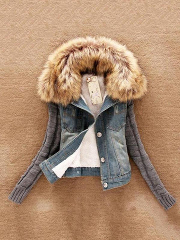 PMS Coats Light Blue / s Short Denim Thick Faux Fur Jacket  Coats Slim Outwear