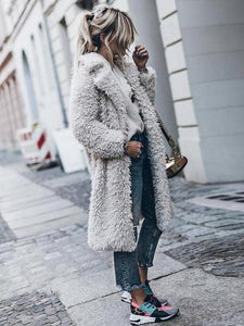 PMS Coats Light Gray / s Faux Fur Collar  Plain Coats