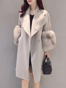 PMS Coats light_gray / s Longline Plain Lapel Pocket Woolen Coat