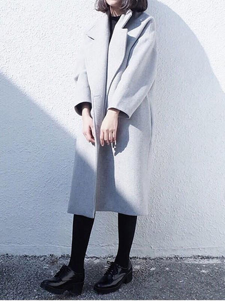 PMS Coats light_gray / s Winter Fashion Double Side Cashmere Coat