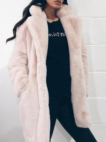 PMS Coats Light Pink / s Long Sleeve Plain Pocket Fashion Casual Fur Coats