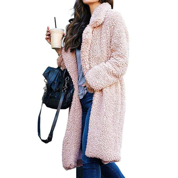 PMS Coats pink / s Autumn And Winter Collared Lamb Velvet Pure Color Coat