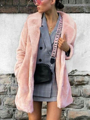 PMS Coats Pink / s Fashion Pure Color Faux Fur Warm Coats