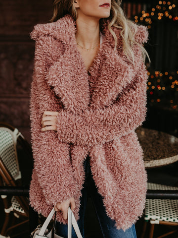 PMS Coats pink / s Fashion Solid Color Plush Thick Coat