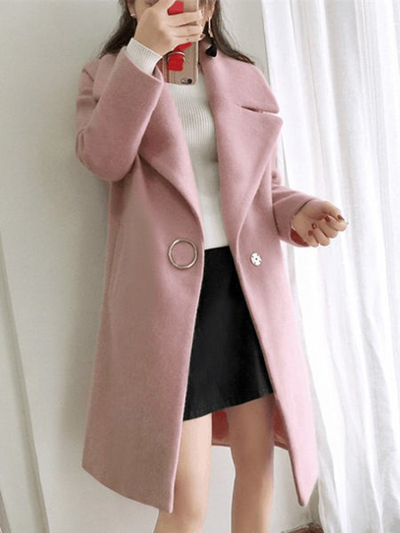 PMS Coats Pink / s Lapel Single Button Plain Pocket Woolen Coat