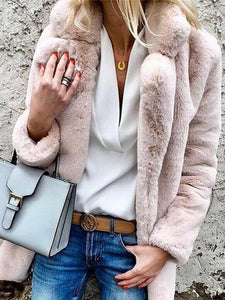 PMS Coats Pink / s Pure Color Lapel Long-Sleeved Coat