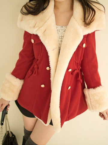 PMS Coats red / s Lapel Double Breasted Drawstring Woolen Coat