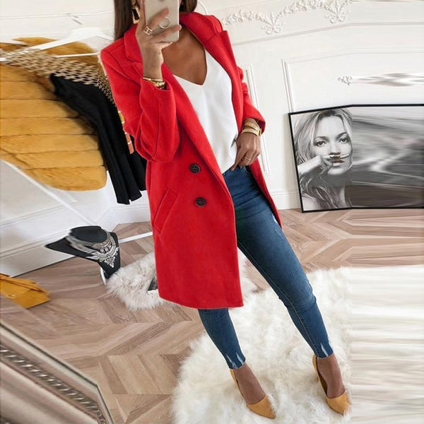 PMS Coats Red / s Lapel Long Sleeve Plain Button Pocket Casual Coats