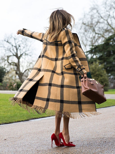 PMS Coats Same As Photo / s Casual Colorblock Lattice Lapel Long Coat